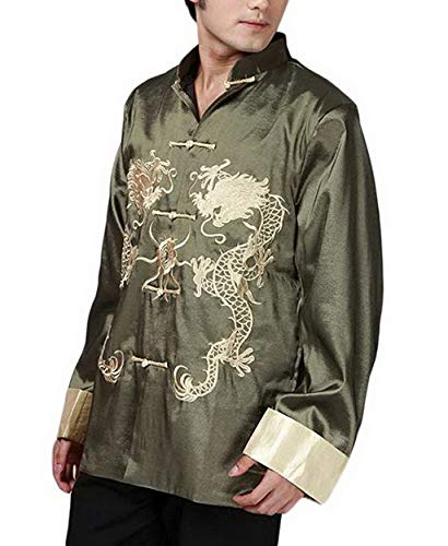 - THY COLLECTIBLES Traditional Chinese Embroidered Silk Kung-Fu Tang Jacket Coat Tai Chi Uniform Double Dragon (Green, Asian XL = US L)
