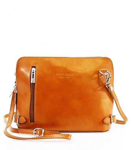 Women Italian Real Leather Shoulder Crossbody Bags VERA PELLE Tan