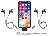 KOKKIA i10L_plus_2MarathonS: DIGITAL i10L Bluetooth Splitter Transmitter for iPhone, iPad, iPod Touch with Lightning Connector PLUS 2 Tiny MarathonS Bluetooth Stereo Headsets.