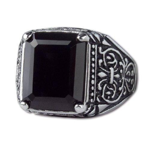 Ring Black Ornament Edelstahl mit Onyx Siegelring