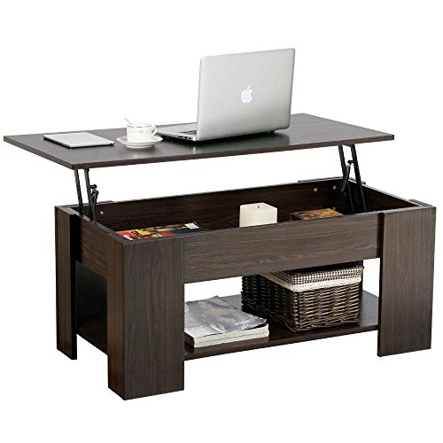 Yaheetech Lift up Top Coffee Table with Under Storage Shelf Modern Living Room Furniture (Espresso)