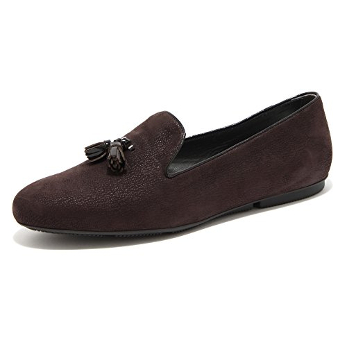 Di donna scarpa NAPPINE 82526 PANTOFOLA Moro mocassino Testa loafer HOGAN shoes wZXxza