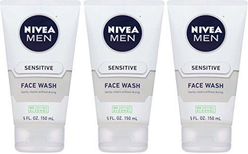Nivea For Men Face Wash - Sensitive - Net Wt. 5 FL OZ (150 mL) Per Tube - Pack of 3 Tubes (Nivea Shaving Conditioner)