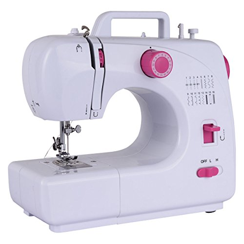 Costway Sewing Machine Household Multifunction Double Thread And Speed Free-Arm Crafting Mending Machine Pink White (16 Built-In Stitches)
