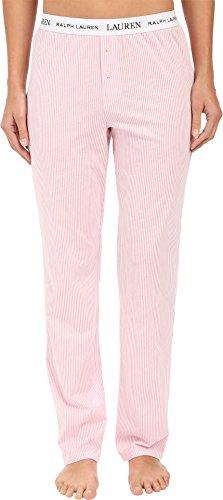 Lauren Ralph Lauren Women's Pants w/Logo Elastic Stripe Pale Pink/White Medium