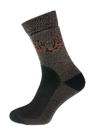 Calcetines de caza calcetines de lana de oveja merina antibacteriano AG marrón + Lycra Hunter,