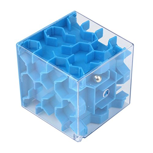 E-SCENERY Mini 3D Magic Maze Puzzle Ball Cube Game Toys, Brain Teaser Game Learning Education Puzzle Box Toys Gifts Hard difficulty (Blue)