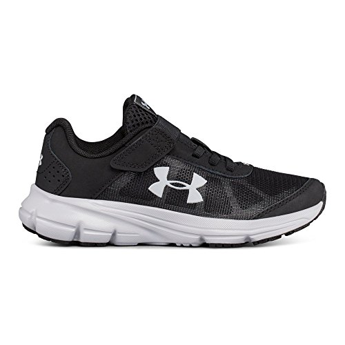 Under Armour Boys' Pre School Rave 2 Adjustable Closure Sneaker, Black (001)/Overcast Gray, 11K