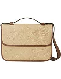 Womens Large Crossbody Woven Iraca Nappa Leather Handbag