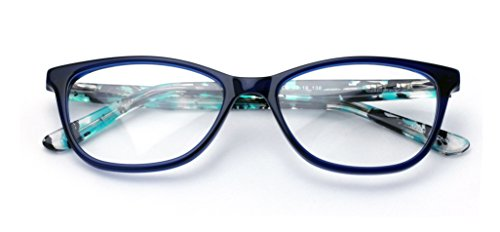 Women Vintage Fashion Acetate Non-prescription Glasses Frame Clear Lens Eyeglasses Rx'able (Blue) (90er Brillen Frames)