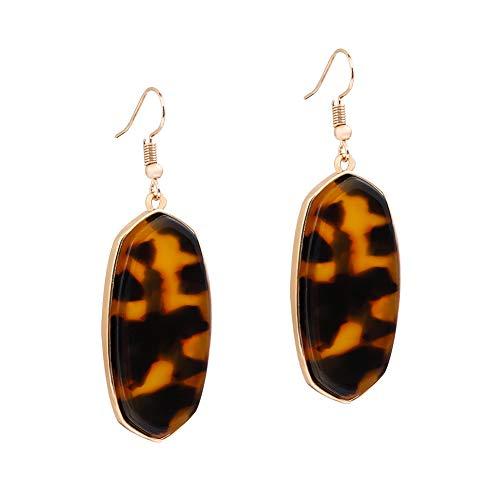 Lucite Pierced Earrings (XOCARTIGE Acrylic Earrings Resin Dangle Earrings Latest Oval Rhombus Drop Hook Earring for Women Girls (B Tortoiseshell))