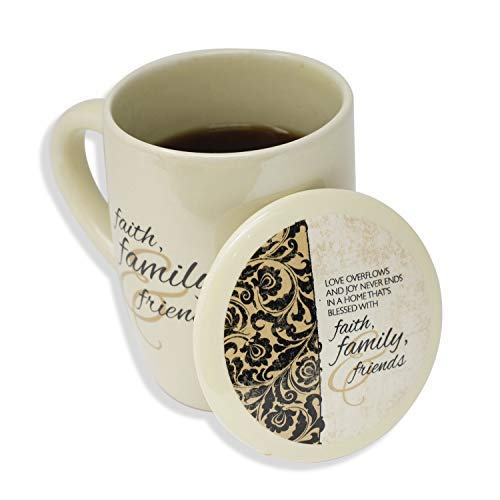 Faith, Family & Friends Coffee, Tea, Hot Chocolate, or Latte Mug/Cup (Beige)
