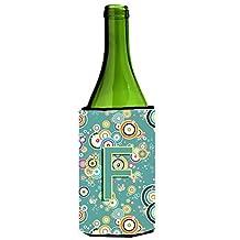 Letter F Circle Circle Teal Initial Alphabet Wine Bottle Beverage Insulator Hugger CJ2015-FLITERK