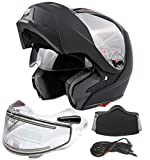 Typhoon G339 Dual Visor Modular Full Face Snowmobile Helmet With Heated Shield, Breath Box (Matte Black, Large)