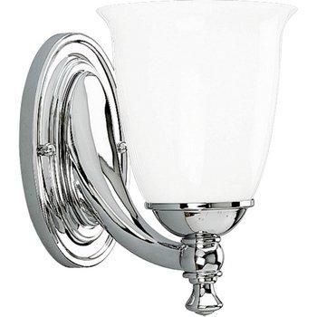 Progress Lighting P3027-15 1-Light Bath Bracket with White Opal Glass, Polished Chrome ()