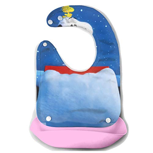 JINUNNU Baby Bib Snoopy and Woodstock Waterproof Feeding Bibs for Babies and Toddlers with Food Catcher Pocket Pink -