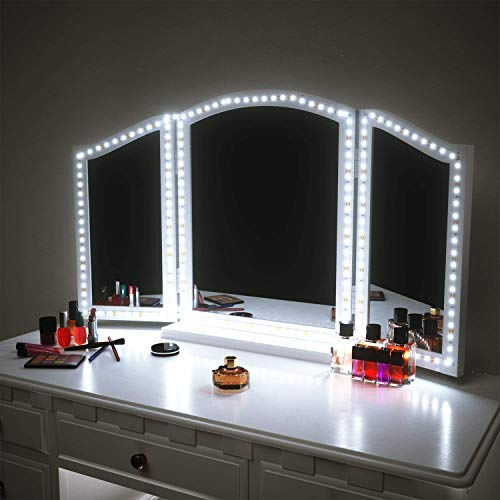 PANGTON VILLA Vanity Mirror Lights Kit for Makeup Dressing Table Set 13ft Flexible LED Strip 6000K Daylight White with Dimmer and Power Supply - Bedroom Vanity