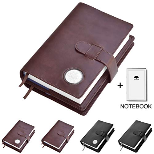 Double AA Big Book Cover & 12 Steps & 12 Traditions | Medallion Holder | by Galileo | Perfect Gift | Alcoholics Anonymous | + Extra Notebook (Plain/Coin Pocket/Brown)