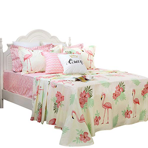 FADFAY Sheet Set Twin Cute Flamingo Beige Summer Bedding 100% Cotton Hypoallergenic Pink Deep Pocket Fitted Sheet 4-Pieces Twin
