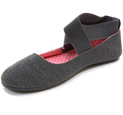 Alpin Suisse Pivoine Ballerines Femme Élastique Cheville Sangle Chaussures Slip On Mocassins Gris