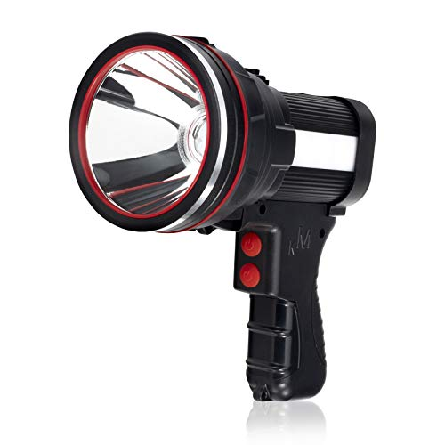 Rechargeable Spotlight Flashlight, SoupStall 6000 Lumens Large Handheld Flashlight, Super Bright Outdoor and Camping Searchlight with Floodlight and Foldable Tripod