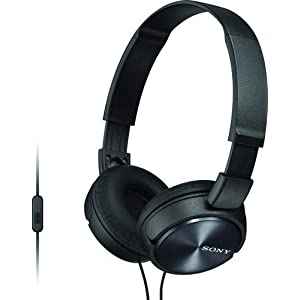 Sony MDR-ZX310AP ZX Series Wired On Ear Headphones with mic, Black