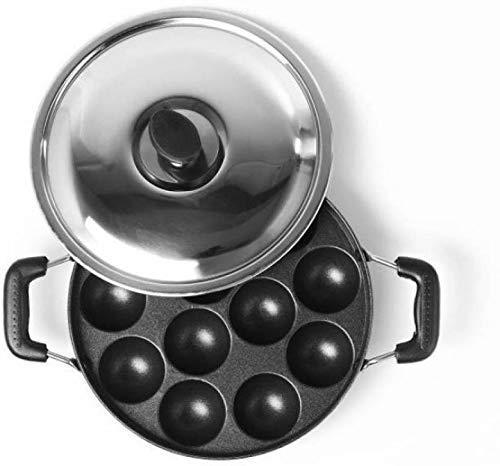 CREW4 Appam Patra Ponganal Maker Pan Paniarakkal Pan 22 cm Diameter with Lid  Non Stick