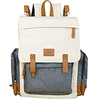 Cutie Carry Baby Diaper Bag Backpack Organic Cotton Canvas Waterproof Multi Pocket Insulated Maternity bag with Padded Shoulder Straps Included stroller straps Changing Pad Leather accents Cream Grey