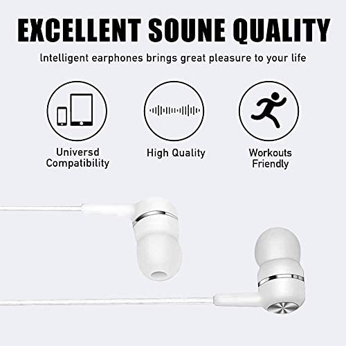 Earbuds with MIC, AUKUY 5 Pair in-Ear Headphones with Microphone and Multifunction Button, 3.5mm Wired Earphones Stereo Bass Earbuds Compatible with iOS Android PC MP3 Gaming Laptops
