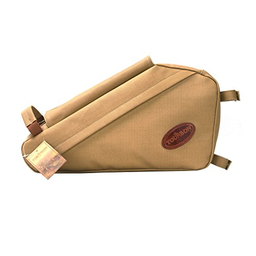 TOURBON Waterproof Canvas Cycling Bicycle Bike Front Tube Frame Pouch Triangle Bag - Khaki