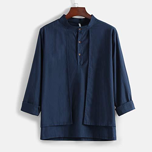 Mens Fashion Casual Stand Collor 100% Cotton Season Button Shirt Top Blouse Navy ()