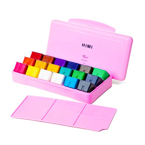 HIMI Gouache Paint Set 18 Colors (30ml/Pc) Paint Set Unique Jelly Cup Design Non Toxic Paints for Artist, Hobby Painters & Kids, Ideal for Canvas Painting for Novelty Gift