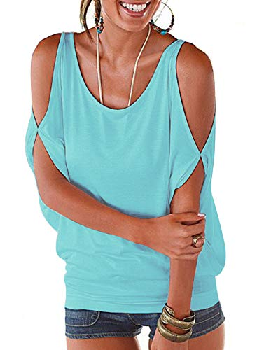 LEIYEE Womens Cold Shoulder Tops Short Sleeve T Shirt Pullover Casual Dolman Blouses (S, Light Blue) ()