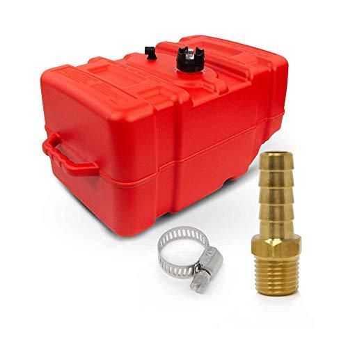 Five Oceans 12 Gallon Portable Fuel Tank Low-Permeation w/Gauge & Universal Brass Fuel Hose Barb (1/4