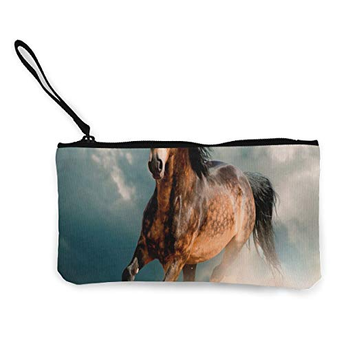 Woman Vintage Hawaiian Art - Coin Purse Gallery Mustang Horse Ladies Zipper Canvas Small Purse TravelAmazing Bag