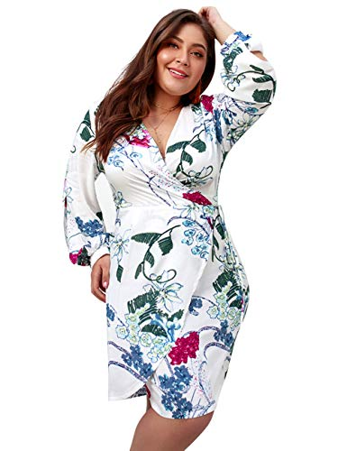 PARTY LADY Women's Wrap V Neck Long Sleeve Floral Split Beach Casual Dress Plus Size XL White