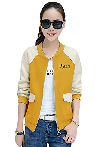 Tempo Bomber Lunghe Gelb Ragazze Libero College Pilot Eleganti Corto Chic Stampate Cappotto Jacket Relaxed Donna Autunno Moda Giacca Maniche Cute zWCvwqzH