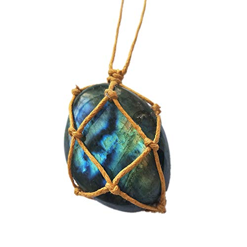 Natural Raw Labradorite Crystal Pendant Necklace Reiki Chakra Healing Pendant Treatment Stone with Hand-Woven Rope in Random Color ()