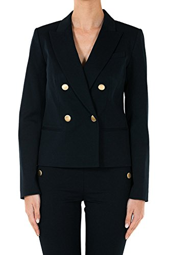 MICHAEL Michael Kors Women's Double-Breasted Twill Blazer Jacket, New Navy (8)