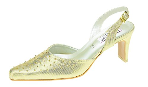 Ladies closed toe shoe, Evening, Bridal, Occasional Wear Gold