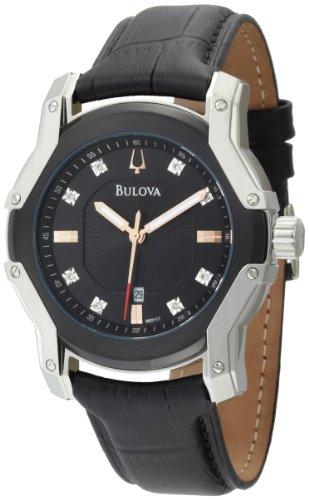 Bulova Men's 98D117 Diamond Black Dial Strap Watch (Black Bulova Mens Dial Diamond)