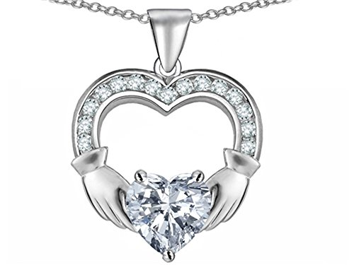 (Star K Hands Holding 8mm Heart Claddagh Pendant Necklace with White Topaz Sterling Silver)