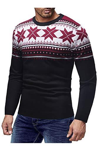 En Manches Sweater Simgahuva À Neige Pulls Longues Christmas Hommes Noir xPSx0w6Bq