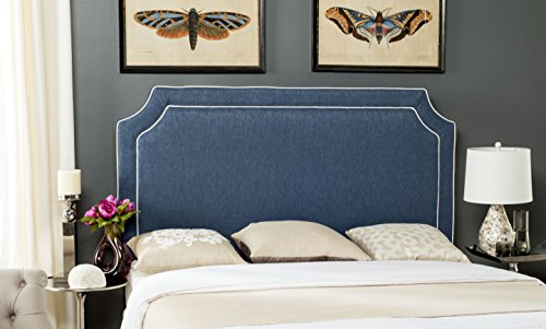 Safavieh Dane Denim Blue/ White Piping Upholstered Headboard (Queen) (Headboards Sale Cheap Upholstered)