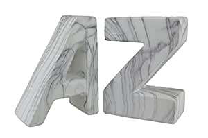 White Marble Finish Ceramic A to Z Bookend Set