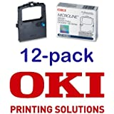 Value Pack of 12 Okidata Black Nylon Ribbon for Microline 320/321 Printers -5/6-Inch x 2 Yards