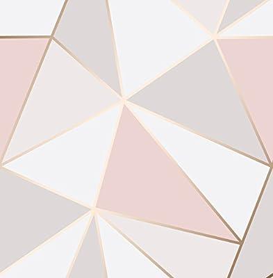Fine Décor 2900-41685 Geometric Wallpaper, Rose Gold