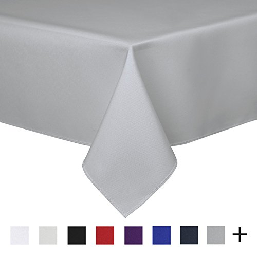Remedios 90 x 132-inch Rectangle Polyester Tablecloth Table Cover - Wedding Restaurant Party Banquet Decoration, Silver (Bright Color Folding Table)