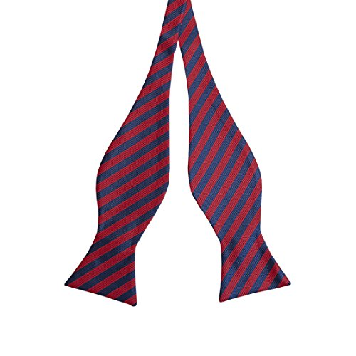 Woven Striped Bow Ties For Men Tuxedo Bowtie Red & Navy Blue Bow Tie ()