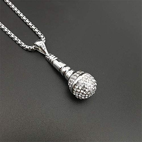 Metal Color: Gold Color, Length: 50cm Davitu Hip Hop Iced Out Bling Microphone Pendants Necklaces for Women//Men Stainless Steel Music Jewelry Hippie